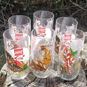 Vintage Coca Cola Christmas Santa Glasses Set of 6
